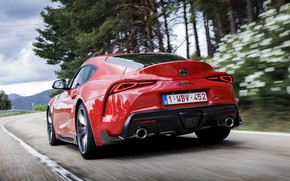 Picture road, movement, coupe, Toyota, rear view, Supra, the fifth generation, mk5, double, 2019, GR Above, …