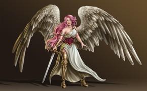 Picture girl, wings, angel, sword