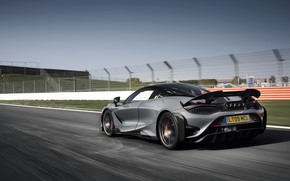 Picture grey, McLaren, on the track, 2020, 765LT