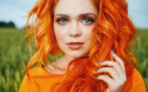 Picture look, girl, face, hair, hand, portrait, red, sponge, blue eyes, redhead, curls, manicure, Ekaterina Bulavina, …