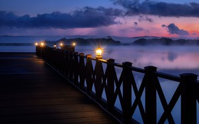 Picture the sky, river, the evening, pier, lights, Andrei