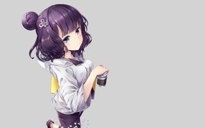 Picture anime, girl, grey background