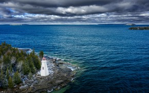 Picture landscape, clouds, nature, lake, lighthouse, Canada, Ontario