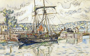 Picture figure, ship, sailboat, watercolor, 1927, Paul Signac, Paimpol, Paul Signac