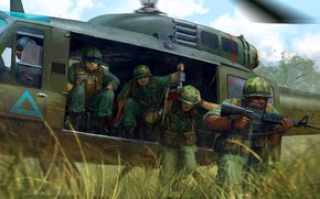 Picture Helicopter, Soldiers, M16, US Army, The Vietnam war