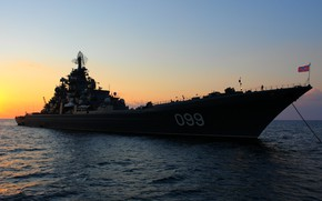 Picture sea, the evening, cruiser, Peter The Great