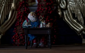 Picture winter, berries, the dark background, table, holiday, toy, Christmas, gifts, grandfather, New year, Santa Claus, …