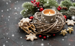 Picture holiday, Christmas, candle, decoration, Olena Rudo