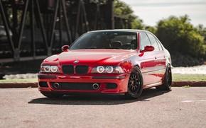 Picture bmw, red, e39, m5