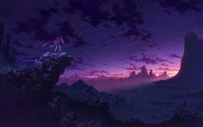 Picture sunset, mountains, rocks, anime, art, four, Starfall