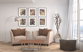 Picture design, table, furniture, chair, window, pictures, living room