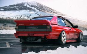 Picture Audi, Red, Winter, Auto, Snow, Mountain, Machine, Red, Auto, Winter, Mountain, Snow, Quattro, Machine, Audi …