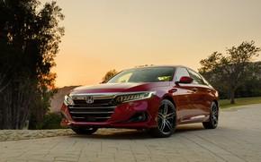 Picture red, Honda, Accord, sedan, Hybrid, hybrid, Touring, four-door, 2020, 2021