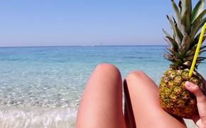 Picture sea, beach, summer, girl, tan, tube, pineapple, legs