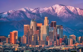 Picture the sun, landscape, mountains, home, skyscrapers, CA, USA, Los Angeles, Los Angeles