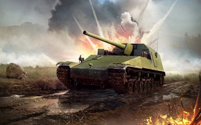 Picture war, explosions, tank, the battlefield, War Thunder