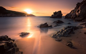 Picture sand, sea, beach, the sky, the sun, rays, light, sunset, stones, rocks, dawn, shore, coast, …