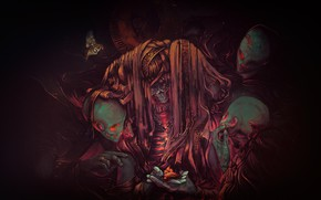 Picture Figure, Skull, Background, Death, Demons, Art, Characters, The seventh step, by Anato Finnstark, Anato Finnstark