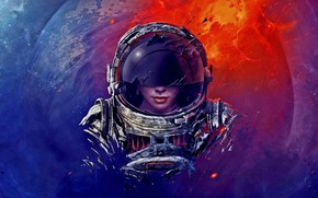 Picture girl, stars, The suit, Space, Astronaut, Astronaut