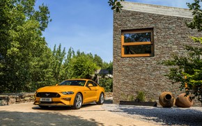 Picture orange, wall, Ford, 2018, fastback, Mustang GT 5.0