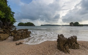 Picture sand, sea, beach, summer, the sky, rocks, shore, summer, beach, sea, seascape, beautiful, rocks, sand
