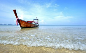 Picture sand, sea, wave, beach, summer, the sky, shore, boats, summer, beach, sea, seascape, beautiful, sand, …