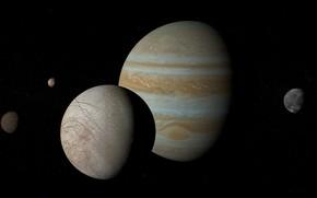 Picture planet, Europe, Jupiter, satellites, Ganymede, Callisto