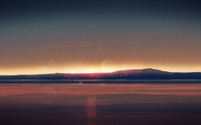 Picture sea, the sky, sunset, mountains