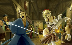 Picture girl, sword, bar, guy, men