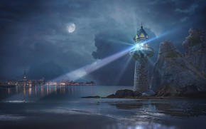 Picture night, the city, the moon, lighthouse, photo art