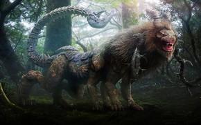 Picture forest, power, predator, beast, forest, the mixture, predator, strength, mythology, mix, beast, ogre, Manticore, mythology, …