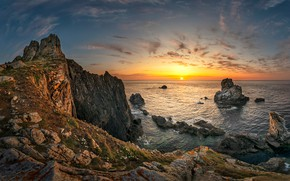 Picture sea, the sky, sunset, stones, rocks, shore