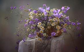Picture basket, chamomile, bells