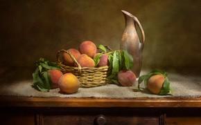Picture pitcher, still life, basket, peaches, Татьяна Феденкова