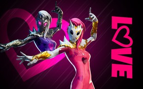 Picture background, girls, mask, costumes, Fortnite