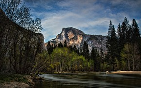 Wallpaper forest, the sky, clouds, trees, mountains, blue, rocks, shore, ate, USA, Yosemite, pond, Yosemite national ...