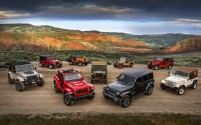 Picture Jeep, Willys, Wrangler Rubicon, Wrangler Sahara, CJ-5, CJ-2A, Wrangler TJ, Wrangler Renegade
