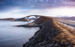 Picture road, bridge, stones, pond, Norway
