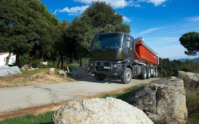 Picture road, stones, vegetation, truck, Renault, body, tractor, triaxial, the trailer, Renault Trucks, K-series
