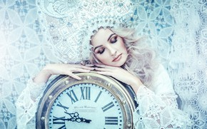 Picture girl, pose, style, watch, hands, makeup, lace, closed eyes, kokoshnik, Anastasia Golubeva