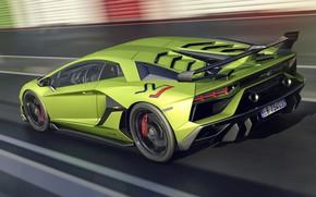 Picture speed, Lamborghini, supercar, rear view, 2018, Aventador, SVJ, Aventador SVJ