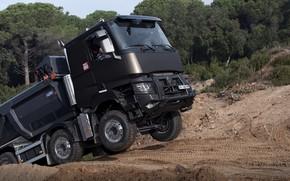 Picture road, sand, movement, Renault, body, dump truck, four-axle, Renault Trucks, K-series