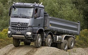 Picture forest, grey, Mercedes-Benz, the ground, 2013, dump truck, Arocs, four-axle
