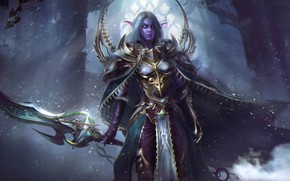 Picture girl, sword, World of Warcraft, warcraft, wow, art, armor, night elf