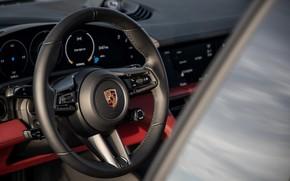 Picture black, Porsche, 2020, steering wheel, Taycan, Taycan 4S