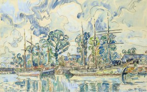 Picture figure, ship, watercolor, Paul Signac, Paimpol, Paul Signac