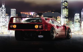Picture Auto, Machine, Ferrari, F40, Rendering, Concept Art, Ferrari F40, Game Art, Ferrari F-40, F-40, Transport ...