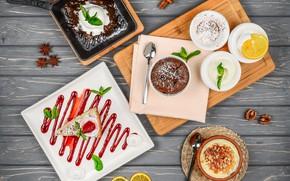 Picture table, ice cream, cake, dessert