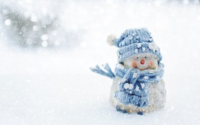 Picture winter, snow, nature, holiday, blue, toy, Christmas, the snow, New year, snowman, scarf, Blizzard, snowfall, …