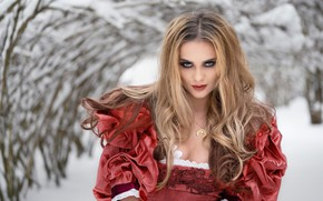 Picture winter, look, girl, snow, trees, makeup, dress, blonde, curls, Anna Rawka